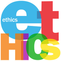 """ETHICS"" Letter Collage (integrity philosophy code of conduct)"