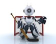 Robot playing ice hockey