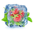 Strawberry in ice