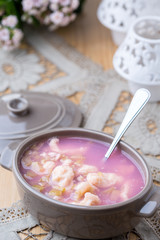 rhubarb dessert soup with cheese dumplings