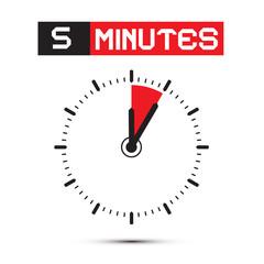 Five Minutes Stop Watch - Clock Vector Illustration