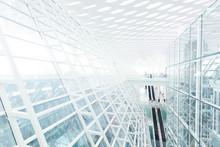 Streszczenie ściana architektoniczny ze szkła i stali w nowoczesnym biurze