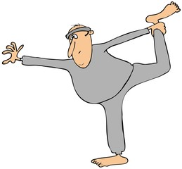 Man in sweats stretching