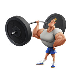 Athlete with a heavy barbell