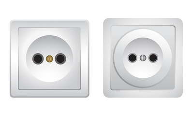 Sockets on white background