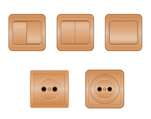 Sockets and switches on white background