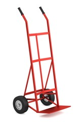 realistic 3d render of hand truck