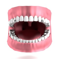 realistic 3d render of human teeth with fillings