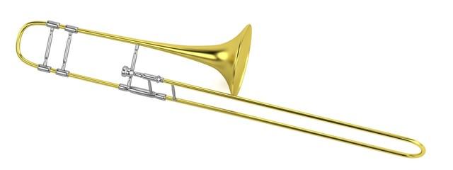 realistic 3d render of trumpet