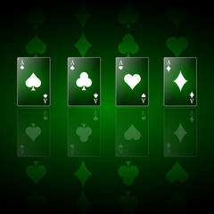 Poker green background with playing cards