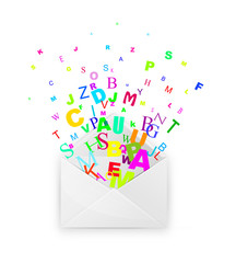 envelope with colorful letters