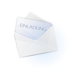 Briefumschlag mit schlichter Einladung (deutsche Version)