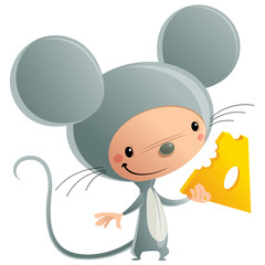 Cartoon happy smiling kid wearing funny carnival mouse cheese co