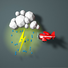 Low Poly Plane in a Storm