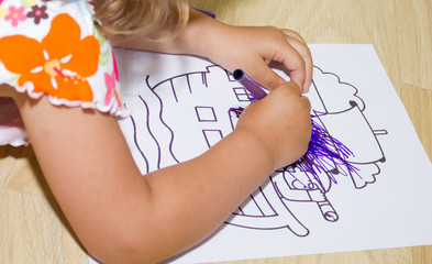 Girl child drawing art with kids colored markers