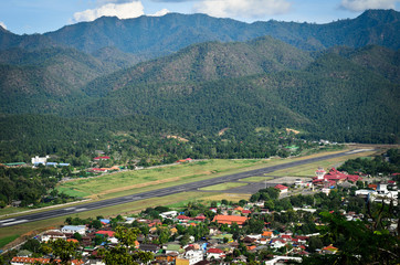 The Airport in mountian at Mae Hong Son, north of Thailand