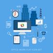 Office work flat vector icon set