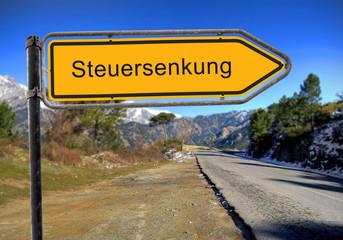 Strassenschild 16 - Steuersenkung