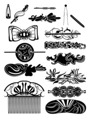 Silhouettes of barrettes