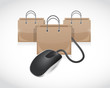 shopping bags and mouse cable illustration