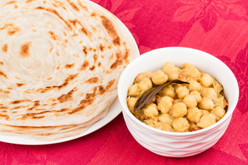 Indian Chana Masala and Parotta