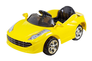 Yellow remote controller  toy car isolated