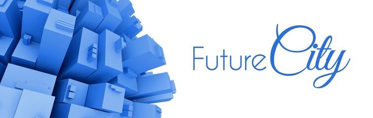 3d Future city creative illustration
