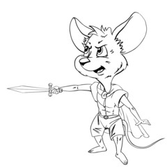 Cartoon mouse  with a sword.