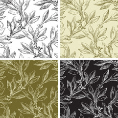 Vintage floral seamless  patterns with laurel leaves