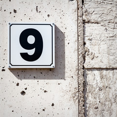 Number 9 on a wall