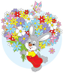 Little rabbit with a big bouquet of flowers