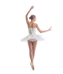 Rear view of sexy ballerina, isolated on white