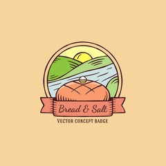 Bread and Salt hand drawn vintage vector badge