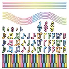 音符と鍵盤(パステル)