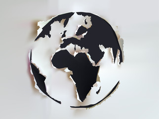 Globe, our planet, Ripped paper design