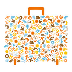 travel bag consisting of summer icons