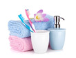 Toothbrushes, soap and two towels