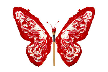 White and red paint made butterfly