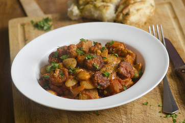 Pork and chorizo stew