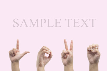Love hand sign language ,pink background