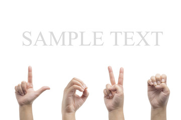Love hand sign language,white background