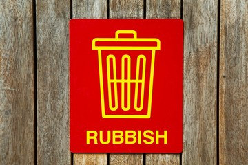Rubbish sign