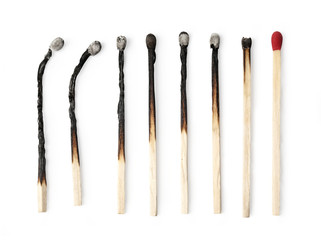 Set of burnt match