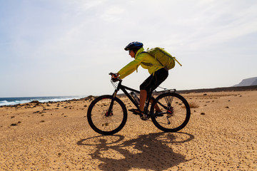 woman with bike on Canary island
