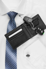 wallet, keys  lying on the shirt  and tie