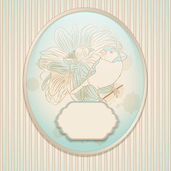 Vintage card with a bird. Retro background