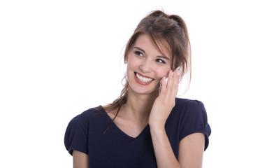 Frau lächelnd isoliert telefoniert mit dem Smartphone
