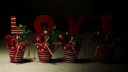 Handmade letters L O V E in flower pot. Wedding flowers.