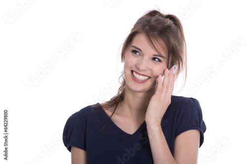 canvas print picture Frau lächelnd isoliert telefoniert mit dem Smartphone