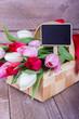 Blumenkorb mit Tafel für freien Texteintrag